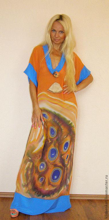 Пляжные платья ручной работы. Ярмарка Мастеров - ручная работа. Купить платье-Волшебство. Handmade. Оранжевый, нарядное платье