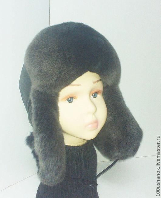 Шапки и шарфы ручной работы. Ярмарка Мастеров - ручная работа. Купить Детская ушанка из меха кролика Рекс и кожи. Handmade.