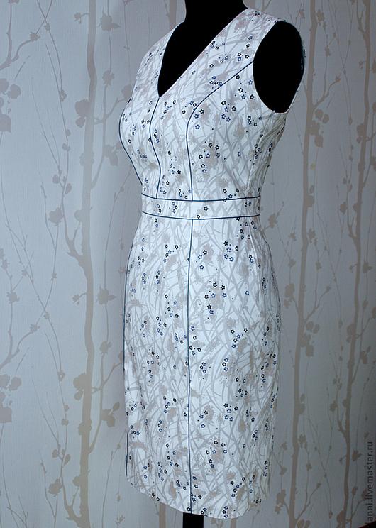 Платья ручной работы. Ярмарка Мастеров - ручная работа. Купить Платье летнее с кантами. Handmade. Цветочный, хлопок 100%, кремовый