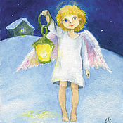 Подарки к праздникам handmade. Livemaster - original item Christmas postcard angel with flashlight. Handmade.