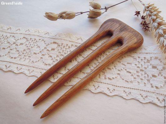 Заколки ручной работы. Ярмарка Мастеров - ручная работа. Купить Заколка деревянная резная, ироко. Handmade. Коричневый, резьба по дереву