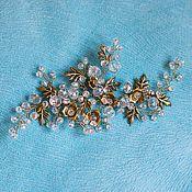 Свадебный салон handmade. Livemaster - original item Wedding sprig. Golden crystal.. Handmade.