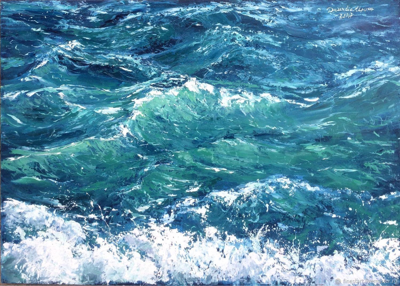 Картина маслом Морские волны, Море, Картины, Тула, Фото №1