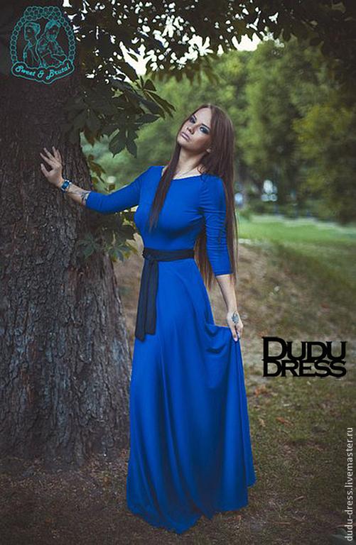 Платье в пол с рукавами 3 четверти