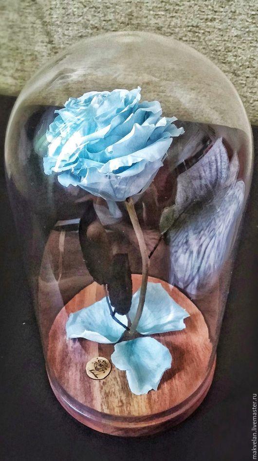 Цветы ручной работы. Ярмарка Мастеров - ручная работа. Купить Роза, которая не увядает от трех до пяти лет. Handmade. Голубой