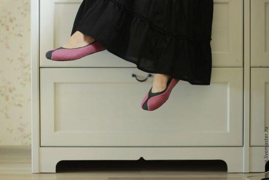 """Обувь ручной работы. Ярмарка Мастеров - ручная работа. Купить """"Фаленопсис"""" валяные тапочки-балетки.. Handmade. Розовый, нежный"""