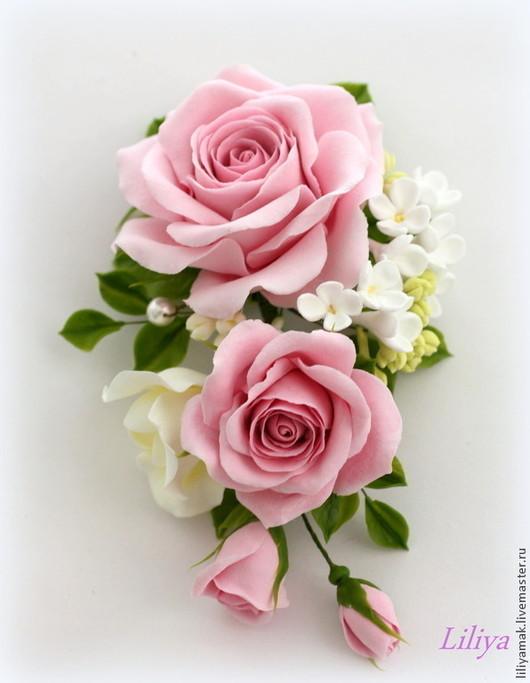 """Свадебные украшения ручной работы. Ярмарка Мастеров - ручная работа. Купить Зажим для волос """"Розовый сад"""". Handmade. Бледно-розовый"""