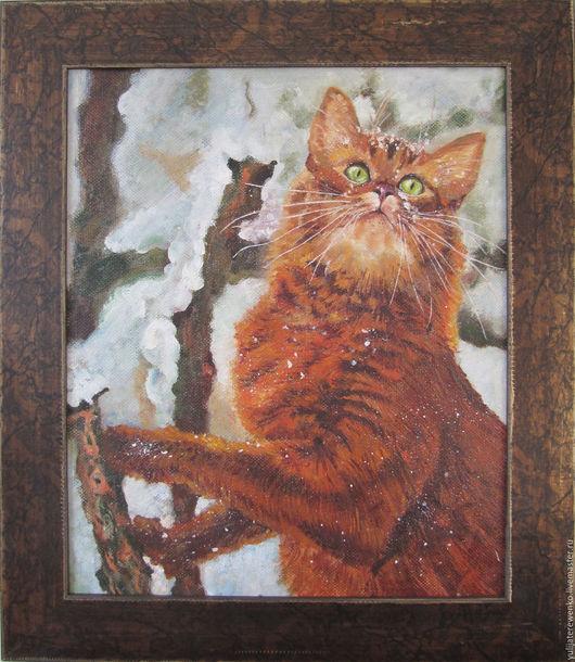 Животные ручной работы. Ярмарка Мастеров - ручная работа. Купить Рыжик кот. Handmade. Картина, масло, рыжий кот, оранжевый