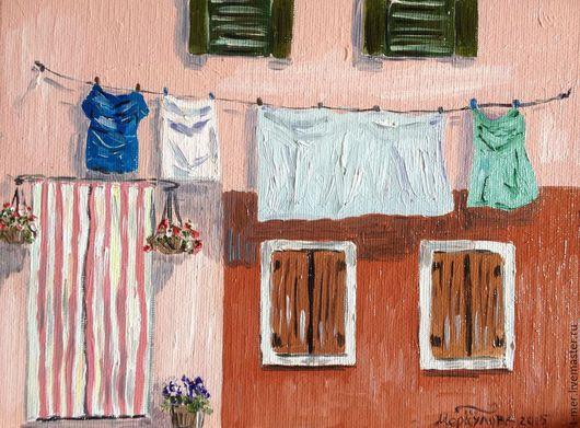 """Город ручной работы. Ярмарка Мастеров - ручная работа. Купить Картина """" Бурано"""". Handmade. Розовый, итальянский стиль"""