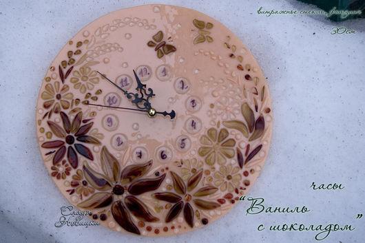 """Часы для дома ручной работы. Ярмарка Мастеров - ручная работа. Купить Часы """"Ваниль с шоколадом"""". Handmade. Фьюзинг, слада"""
