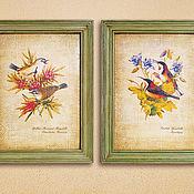 Картины и панно ручной работы. Ярмарка Мастеров - ручная работа Две картины Птицы Австралии в зеленых рамах. Handmade.