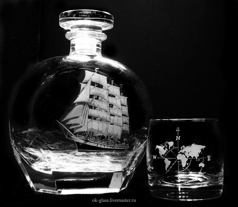 Графины, кувшины ручной работы. Ярмарка Мастеров - ручная работа. Купить Штоф с бокалами для виски 'Путешествие.'. Handmade. Море