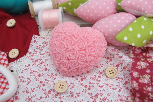 """Мыло ручной работы. Ярмарка Мастеров - ручная работа. Купить Мыло """"Сердце в розах"""". Handmade. Бледно-розовый, мыло, сердечко"""