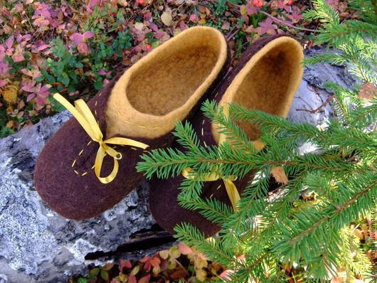 Обувь ручной работы. Ярмарка Мастеров - ручная работа. Купить Валяные тапочки. Handmade. Коричневый, домашние тапочки, шёлковые нити