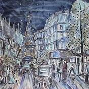 Платки ручной работы. Ярмарка Мастеров - ручная работа Шёлковый платок батик Ночной Париж. Handmade.