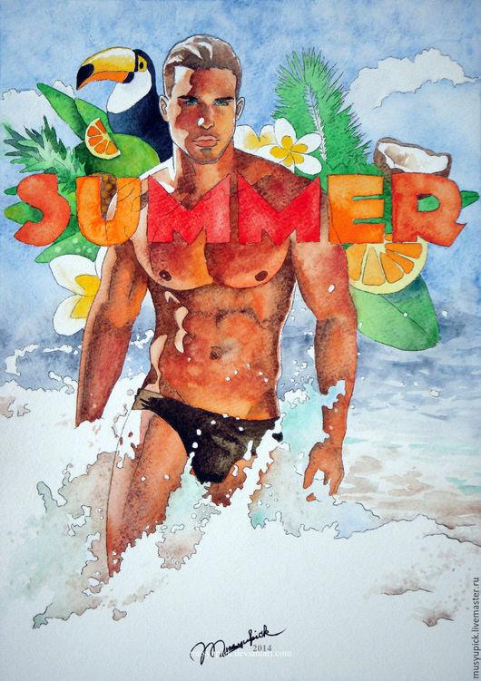 Люди, ручной работы. Ярмарка Мастеров - ручная работа. Купить Акварель Лето, море, пляж. Handmade. Комбинированный, море, лето