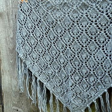 Аксессуары ручной работы. Ярмарка Мастеров - ручная работа Ажурный платок-шаль, серый. Handmade.