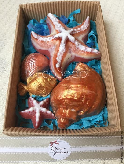 `Золотая рыбка N2`. В наборе 5 кусочков мыла (2 больших и 3 маленьких). Маленькое мыльце - отличный вариант `гостевого` мыла или мыла для детей.  Handmade.