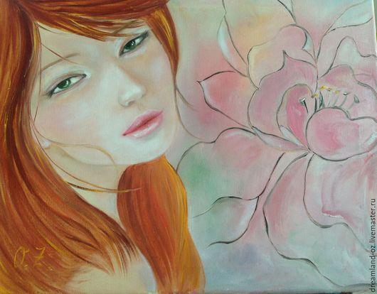 """Люди, ручной работы. Ярмарка Мастеров - ручная работа. Купить Картина маслом """" Цветные сны"""". Handmade. Бледно-розовый"""