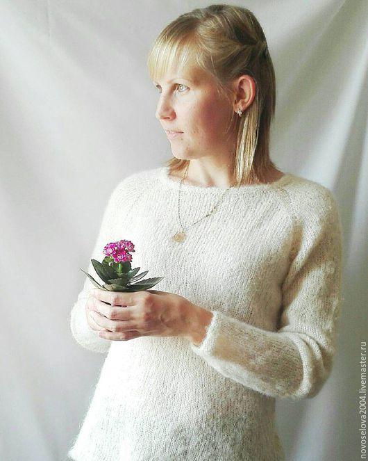 Кофты и свитера ручной работы. Ярмарка Мастеров - ручная работа. Купить Пуловер из альпаки. Handmade. Бежевый, пуловер женский, пуловер