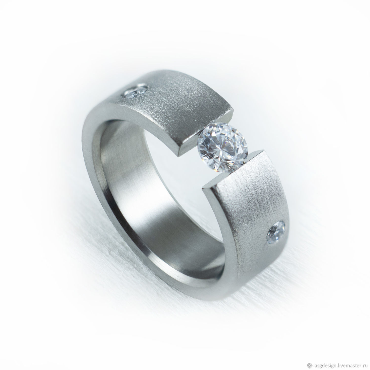 Women's titanium ring with stones, Rings, Moscow,  Фото №1