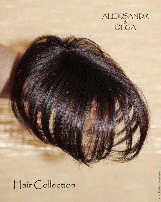 Теменная НАКЛАДКА на Пробор - постиж, шатен коричневый, прямые волосы