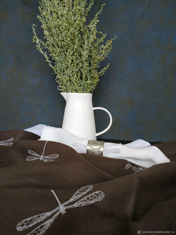 Текстиль, ковры ручной работы. Ярмарка Мастеров - ручная работа. Купить Льняная дорожка Стрекоза. Handmade. Стрекоза, для сервировки стола