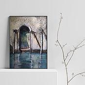 Картины и панно handmade. Livemaster - original item Urban landscape Venice Door (beige blue-green). Handmade.