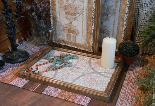 Декоративный набор для интерьера спальни,гостиной,прихожей или кабинета. Парные панно на стену и поднос для свечей,украшений и статуэток...