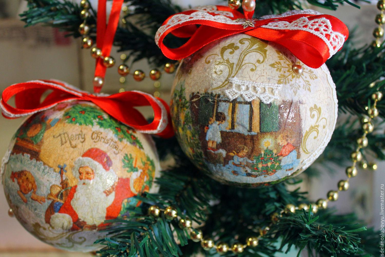 Decoupage balls on the Christmas tree 14