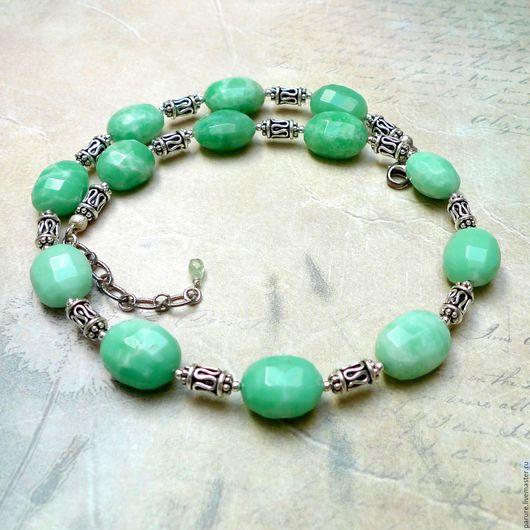 Колье, бусы ручной работы. Ярмарка Мастеров - ручная работа. Купить Ожерелье с природным Хризопразом, серебро 925 пробы. Handmade.