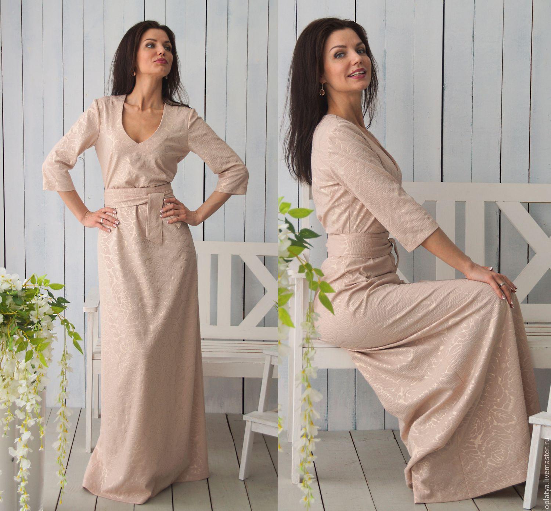 Платье бежевое длинное купить в