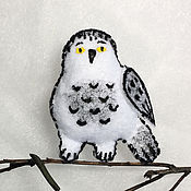 Украшения ручной работы. Ярмарка Мастеров - ручная работа брошка полярна сова. Handmade.