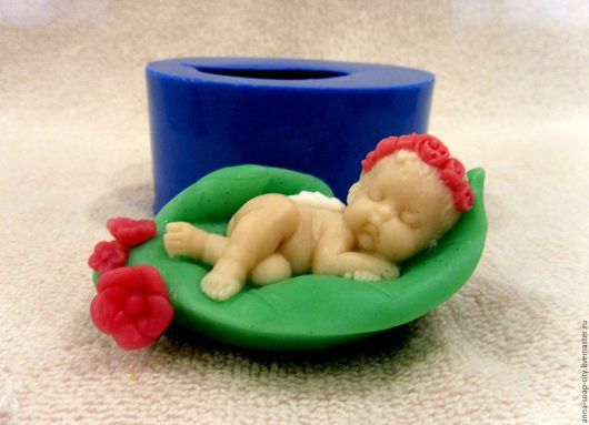 """Другие виды рукоделия ручной работы. Ярмарка Мастеров - ручная работа. Купить Силиконовая форма для мыла """"Ангел спит на листочке"""". Handmade."""