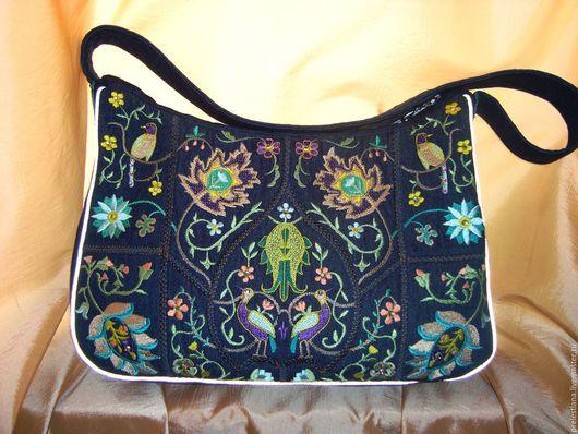 Женские сумки ручной работы. Ярмарка Мастеров - ручная работа. Купить Цветочная фантазия. Handmade. Тёмно-синий, подарок женщине