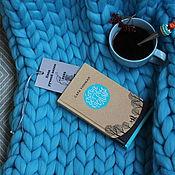 Пледы ручной работы. Ярмарка Мастеров - ручная работа Плед крупной вязки шерсть меринос цвет: голубой. Handmade.