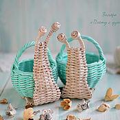 Для дома и интерьера ручной работы. Ярмарка Мастеров - ручная работа Плетеные улитки с корзинками. Handmade.