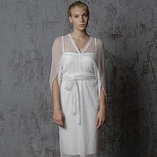Одежда handmade. Livemaster - original item Long white dress of wool knitted fabric MIDI. Handmade.