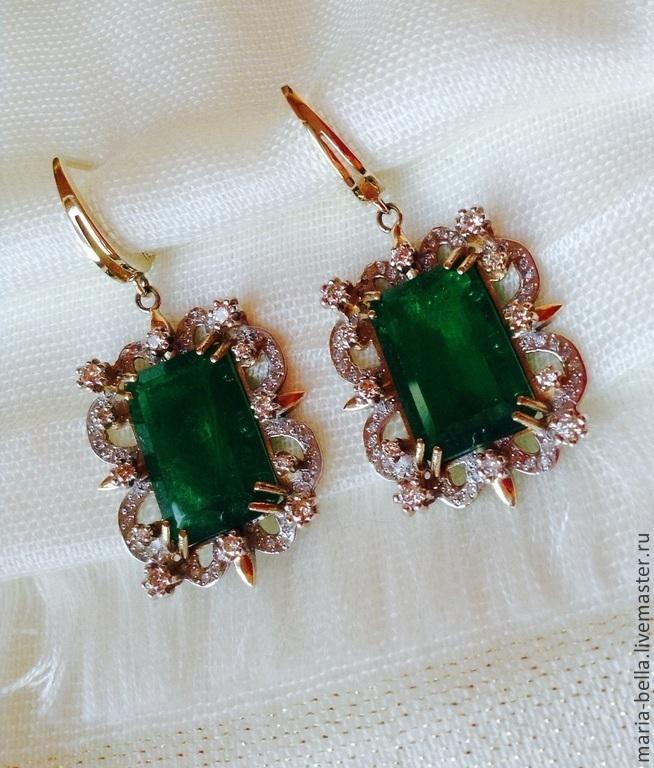 Earrings Emerald. Emeralds, diamonds, gold 585, Earrings, Moscow,  Фото №1