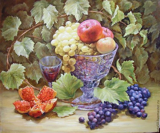 """Пейзаж ручной работы. Ярмарка Мастеров - ручная работа. Купить Картина """"Дары осени"""". Handmade. Осенний натюрморт, виноград, яблоки"""