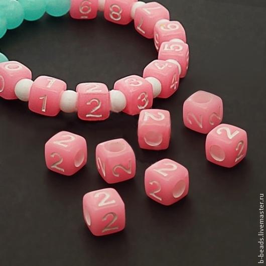 Для украшений ручной работы. Ярмарка Мастеров - ручная работа. Купить Бусины люминисцентные цифра 2 ( розовые ). Handmade.