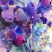 Картины и панно ручной работы. Ярмарка Мастеров - ручная работа Акварель Таинственный Фиолетовый. Handmade.