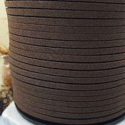 Материалы для творчества handmade. Livemaster - original item 1 m suede cord (isc.) 3 mm brown (4019). Handmade.