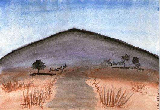 Пейзаж ручной работы. Ярмарка Мастеров - ручная работа. Купить моя гора. Handmade. Фиолетовый, гора, дорога, заборчик, свет
