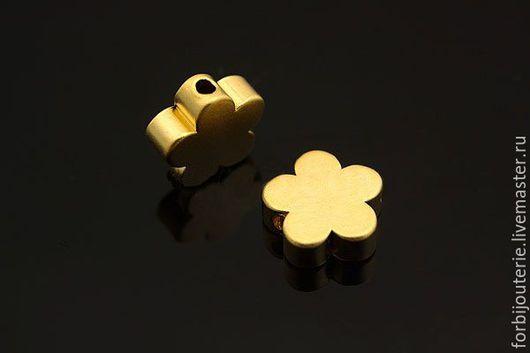 014 Бусины `Цветок` из латуни с позолотой. Качественное гипоаллергенное покрытие gold plated. Для украшений ручной работы. Южная Корея.