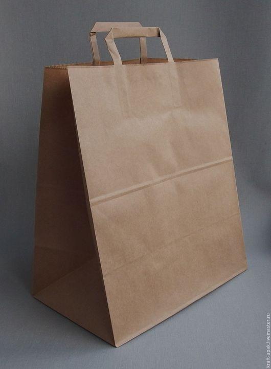 Упаковка ручной работы. Ярмарка Мастеров - ручная работа. Купить Крафтпакет 32x20x37 с плоскими ручками. Handmade. Натуральный, крафт-пакет
