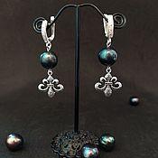 handmade. Livemaster - original item VIP earrings silver with pearls. Handmade.
