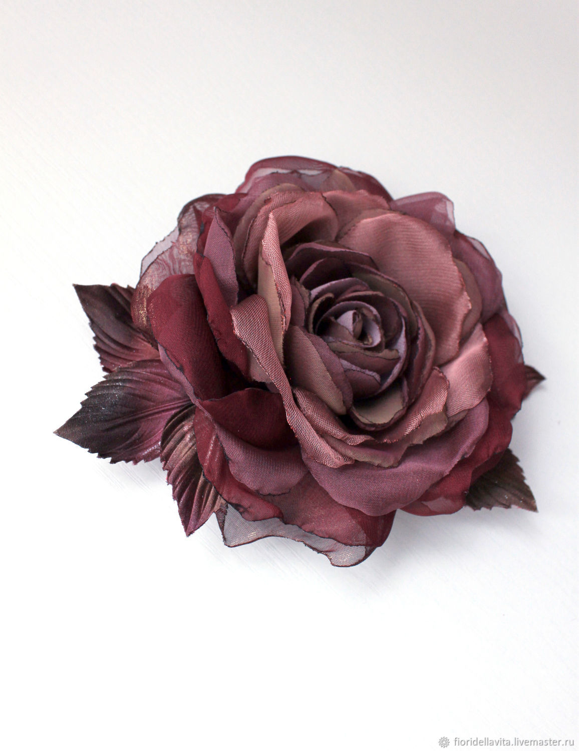 FLOWER brooch rose from the fabric ' mulled Wine', Brooches, Vidnoye,  Фото №1