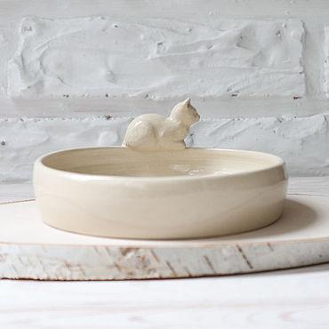 """Посуда ручной работы. Ярмарка Мастеров - ручная работа Миска """"Кошка"""". Handmade."""