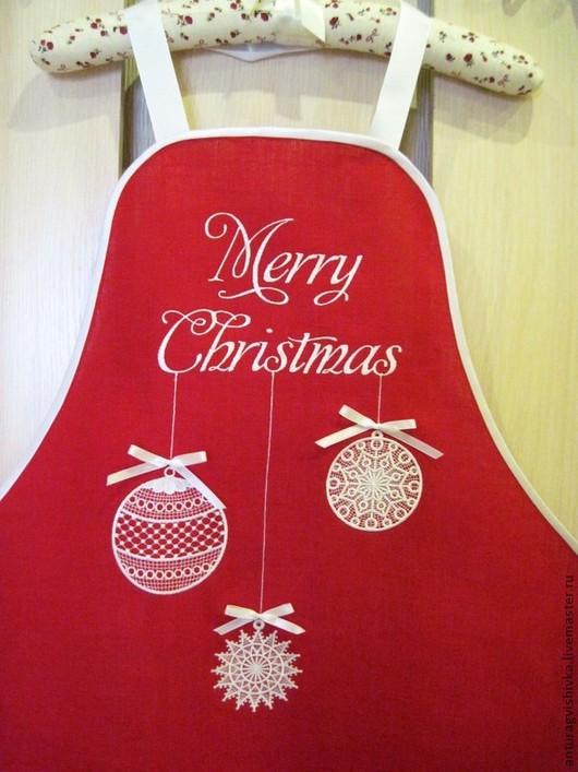 Фартук для кухни с вышивкой MERRY CHRISTMAS  - оригинальный подарок на Рождество и Новый год!